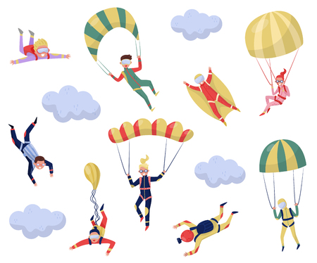 Set of professional skydivers. Extreme sport. Young wingsuit jumper. Active recreation. Cartoon character of happy guys and girls. Skydiving theme. Flat vector design isolated on white background.