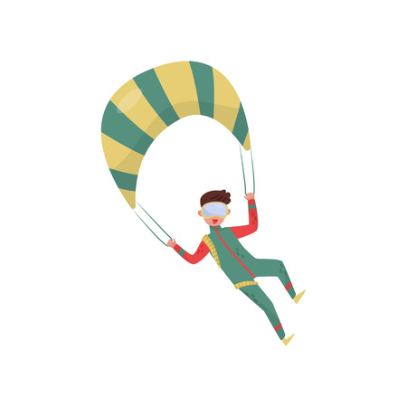 Young guy flying with parachute. Professional skydiver. Extreme sport. Cartoon man character in green suit and protective goggles. Colorful flat vector illustration isolated on white background.  イラスト・ベクター素材