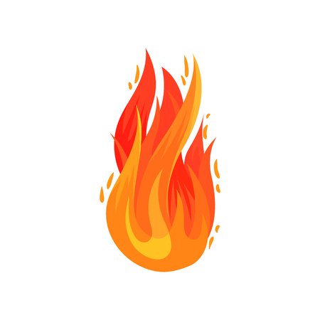 Cartoon icon of bright red-orange fire in flat style. Hot blazing flame. Decorative graphic element for advertising poster, banner or flyer. Colorful vector illustration isolated on white background. Ilustração