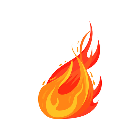 Cartoon illustration of bright fiery flame. Hot red-orange fire. Symbol of danger. Graphic element for sticker, promo poster or flyer. Colorful vector icon in flat style isolated on white background.
