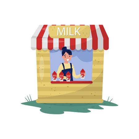 Niña alegre vendiendo leche en un pequeño puesto con signo. Bebida orgánica y saludable. Producto lácteo de granja. Personaje de dibujos animados mujer. Ilustración de vector plano colorido aislado sobre fondo blanco. Ilustración de vector