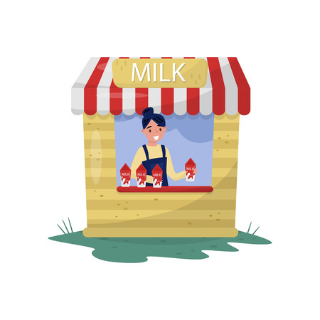 Young cheerful girl selling milk in small stall with sign. Organic and healthy beverage. Farm dairy product. Cartoon woman character. Colorful flat vector illustration isolated on white background.