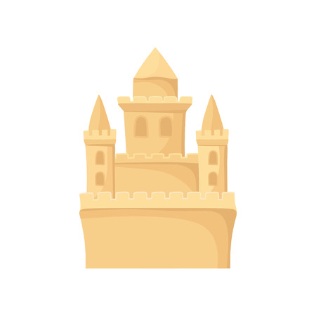 Royal sand castle. Beach holiday and summer vacation theme. Flat vector for children book or poster of travel agency