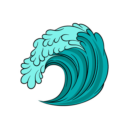 Blue sea wave with black outline. Stormy ocean water. Marine theme. Decorative graphic element for promotional poster of beach party. Colorful vector illustration isolated on white background.