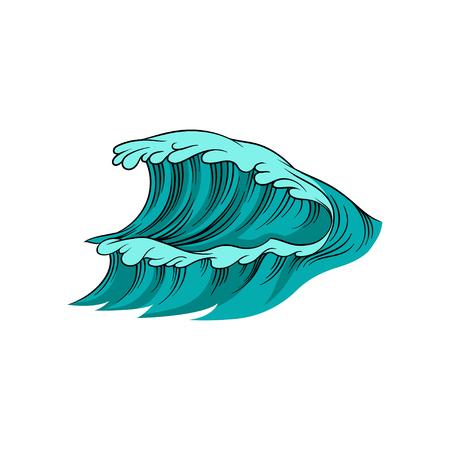 Illustration vectorielle de vague géante avec de la mousse. Marée haute. L'eau de l'océan bleu. Thème marin. Élément pour affiche, livre pour enfants ou carte postale Vecteurs