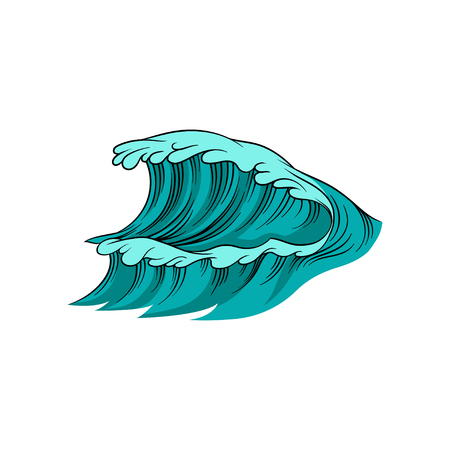 Vector illustration of giant wave with foam. High sea tide. Blue ocean water. Marine theme. Element for poster, children book or postcard