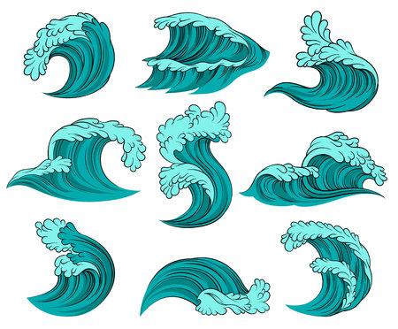 Ensemble de différentes vagues de la mer avec de la mousse. Marée haute. Éléments graphiques décoratifs pour affiche publicitaire d'agence de voyages, livre pour enfants ou carte postale. Icônes vectorielles colorées isolées sur fond blanc.