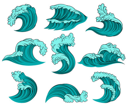 Set of different sea waves with foam. High ocean tide. Decorative graphic elements for advertising travel agency poster, children book or postcard. Colorful vector icons isolated on white background.