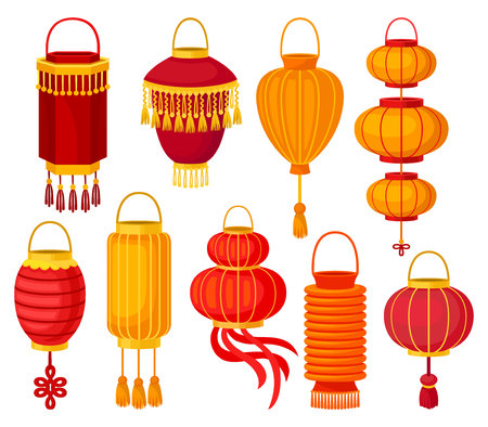 Chinese paper street lantern of different shapes, decorative elements for festive design vector Illustrations isolated on a white background.