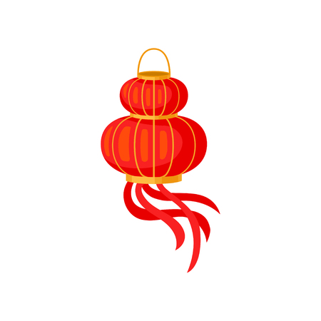Red Chinese paper lantern, decorative element for festive design vector Illustration isolated on a white background.