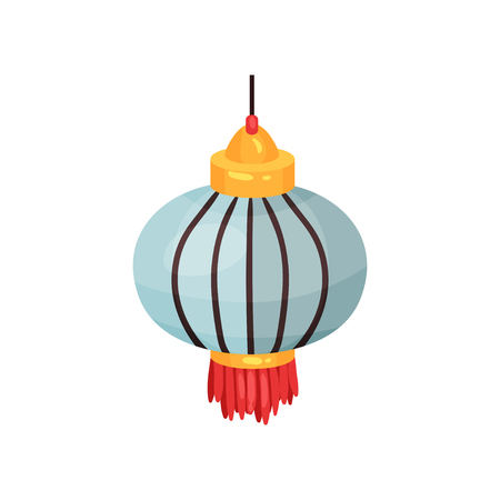 Color Chinese lantern of round shape, decorative element for festive design vector Illustration isolated on a white background.