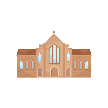 Catholic church building, religious temple vector Illustration on a white background