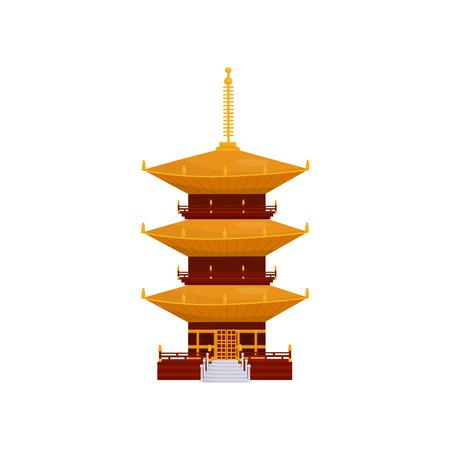 전통적인 아시아 탑 건물, 불교 사원 벡터 일러스트는 흰색 바탕에