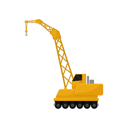 Hydraulic crawler crane, cargo transportation service vector Illustration isolated on a white background. 向量圖像
