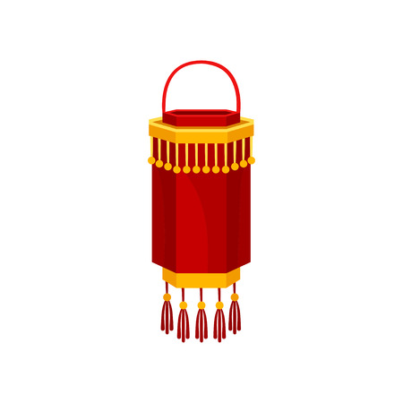 Red Chinese paper street lantern of cylindrical shape, decorative element for festive design vector Illustration isolated on a white background.