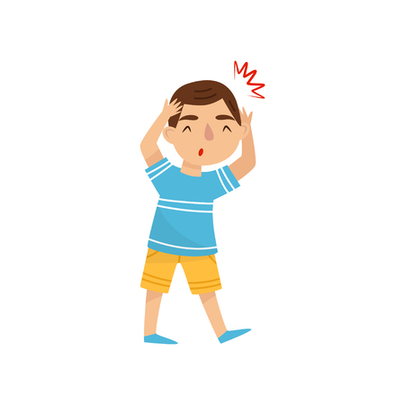 Little boy suffering from headache. Child with pain in the head. Symptom of disease. Health problems. Cartoon character of sick kid. Colorful flat vector illustration isolated on white background.