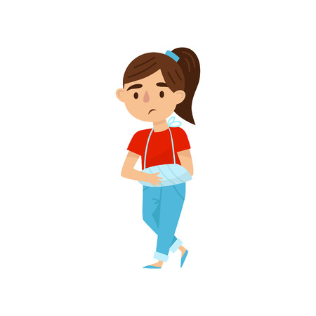 Cute brunette girl with broken arm in bandages. Little child with injury. Cartoon kid character with sad face expression. Colorful vector illustration in flat style isolated on white background.