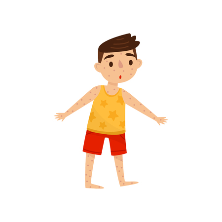 Niño con sarpullido en el cuerpo. Niño con sarampión. Enfermedad infecciosa. Personaje infantil de dibujos animados con expresión de la cara sorprendida. Ilustración de vector colorido en estilo plano aislado sobre fondo blanco.
