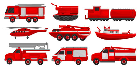Firefighting vehicles set, emergency service for firefighting operations vector Illustrations isolated on a white background. Vectores
