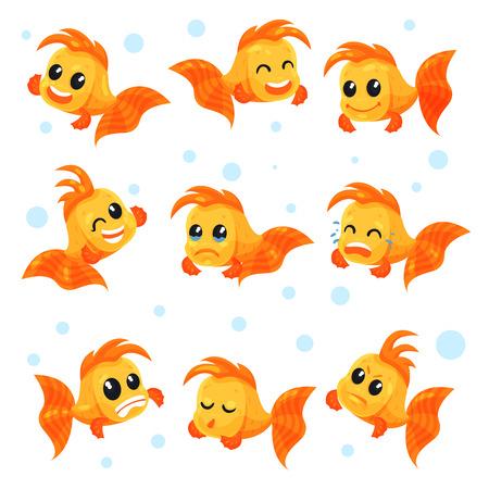 Lindo conjunto de peces de colores, personajes de dibujos animados de peces divertidos con diferentes emociones vector ilustraciones aisladas sobre fondo blanco.