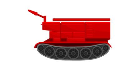 Red firefighting crawler bulldozer, emergency service vehicle vector Illustration isolated on a white background.