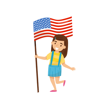 Girl holding national flag of United States of America, design element for Independence Day, Flag Day vector Illustration on a white background