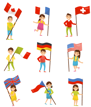 Children with national flags of different countries, holiday design elements for Independence Day, Flag Day vector Illustrations isolated on a white background.