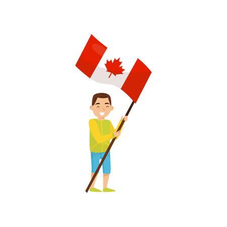 Junge, der Nationalflagge von Kanada, Gestaltungselement für Unabhängigkeitstag, Flaggen-Tagesvektorillustration lokalisiert auf einem weißen Hintergrund hält.
