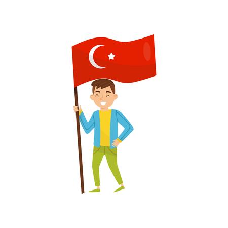 Garçon tenant le drapeau national de la Turquie, élément de conception pour le jour de l'indépendance, vecteur de jour du drapeau Illustration isolé sur fond blanc. Vecteurs