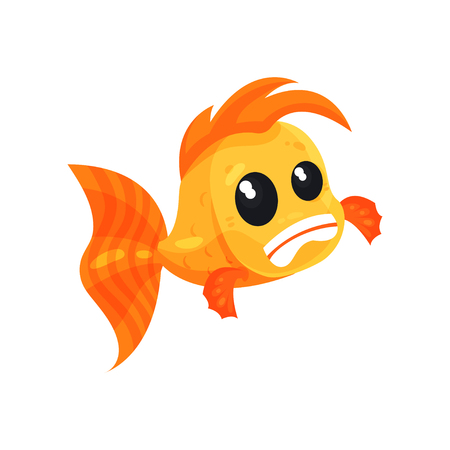 Cute frightened goldfish, funny fish cartoon character vector Illustration isolated on a white background.