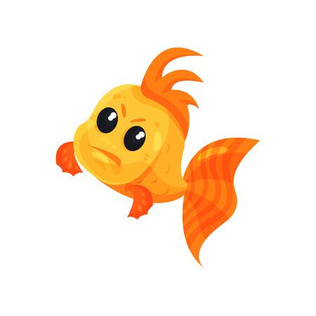 Lindo pez de colores enojado, vector de caracteres de dibujos animados de peces divertidos ilustración aislada sobre fondo blanco.