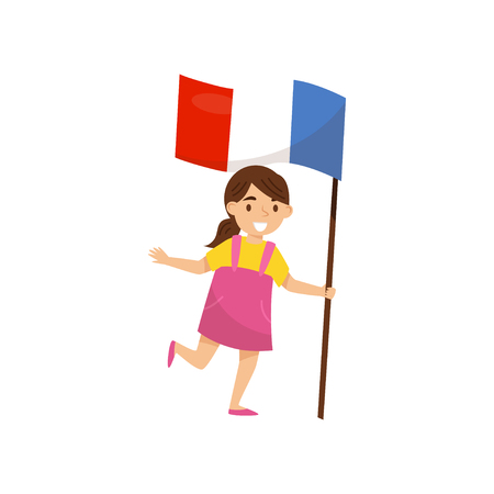 Girl holding national flag of France, design element for Independence Day, Flag Day vector Illustration isolated on a white background.