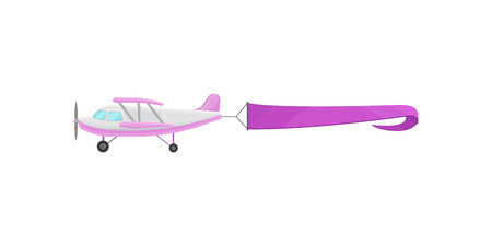 Flying plane with purple horizontal advertising banner vector Illustration isolated on a white background. Vettoriali