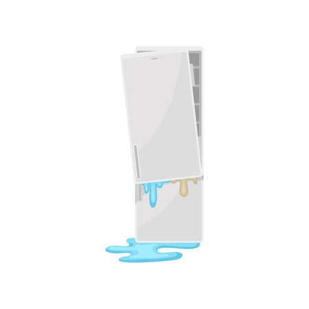 Broken refrigerator, damaged home appliance vector Illustration isolated on a white background.