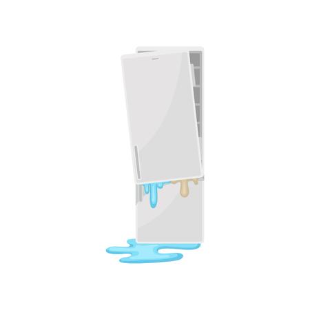 Refrigerador roto, vector de electrodomésticos dañados ilustración aislada sobre fondo blanco.