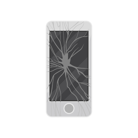 Broken smartphone, damaged electronic device vector Illustration isolated on a white background.