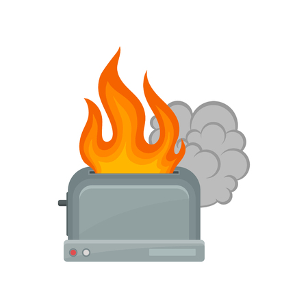 Broken toaster, damaged home appliance vector Illustration isolated on a white background. Ilustração