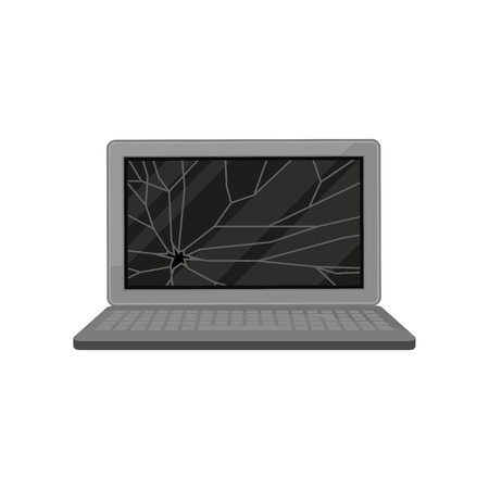 Broken laptop computer, damaged electronic device vector Illustration isolated on a white background. Illustration