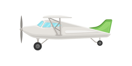 Small vintage plane, light aircraft vector Illustration isolated on a white background.