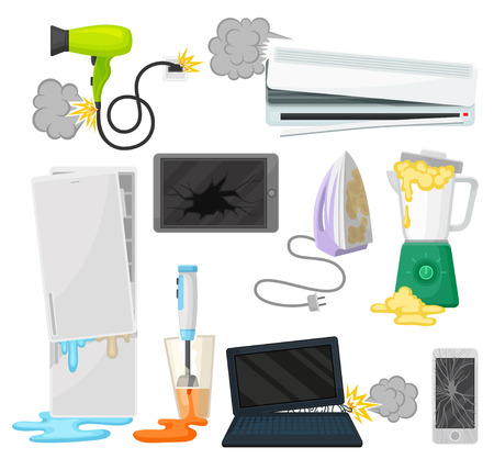 Broken appliances set, damaged electrical household equipment vector Illustrations isolated on a white background.