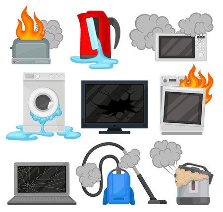 Ensemble d'appareils ménagers cassés, vecteur d'équipement électroménager endommagé Illustrations isolées sur fond blanc.