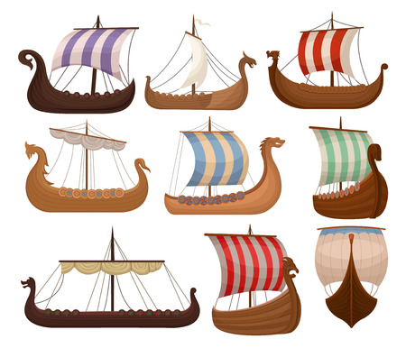 Viking scandinavian draccars set, Norman ship with color sales vector Illustrations isolated on a white background.