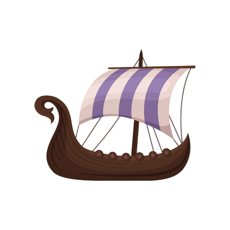 Viking scandinavian draccar with striped sails, Norman ship sailing vector Illustration isolated on a white background. Illustration