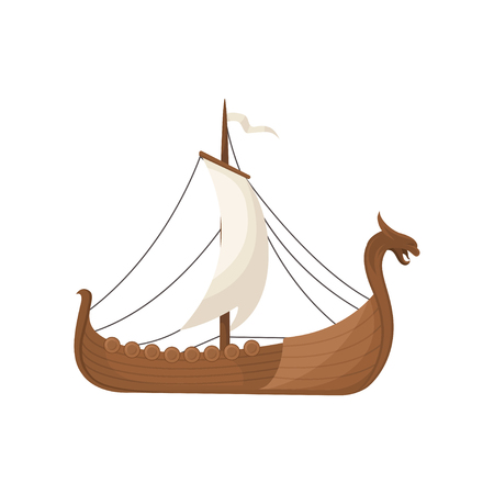Viking scandinavian draccar with hite sails, Norman ship sailing vector Illustration isolated on a white background. Illustration