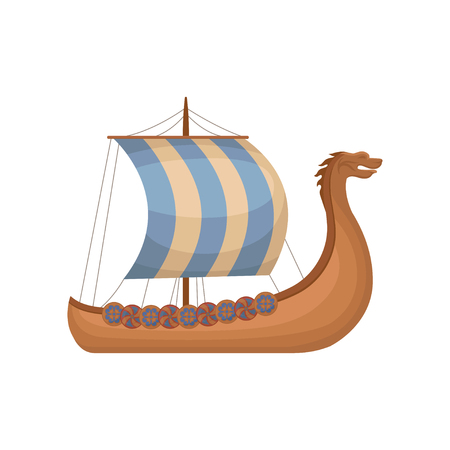 Ancient viking scandinavian draccar with striped sails, Norman ship sailing vector Illustration isolated on a white background. Illustration