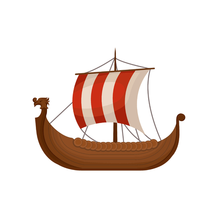 Ancient viking scandinavian draccar, Norman ship sailing vector Illustration isolated on a white background.
