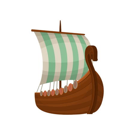 Viking scandinavian draccar with sails, Norman ship vector Illustration isolated on a white background. Illustration