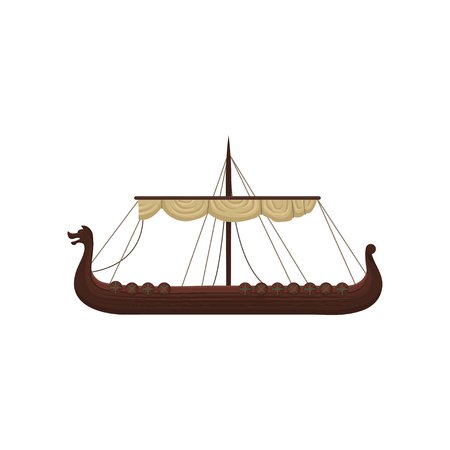 Ancient viking scandinavian draccar, Norman ship vector Illustration isolated on a white background.