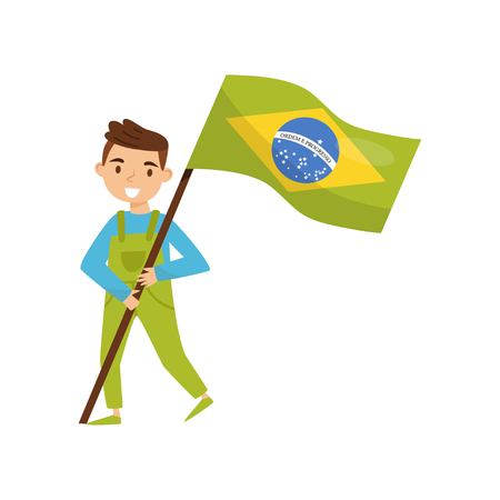 Boy holding national flag of Brazil, design element for Independence Day, Flag Day vector Illustration isolated on a white background.