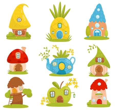 Cute small houses set, fairytale fantasy house for gnome, dwarf or elf vector Illustrations on a white background